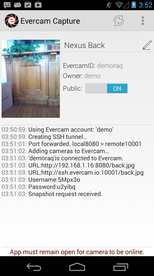 Evercam Capture – Turns your phone into an IP Camera – Connected to Evercam